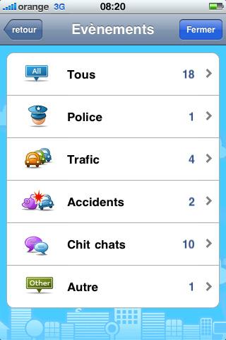 Les évènements sur Waze
