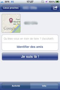 Facebook active le partage de lieux sur son application iPhone 2