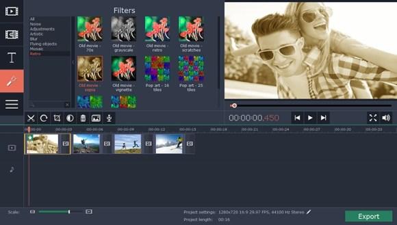 L'éditeur de vidéo de Movavi Video Studio.