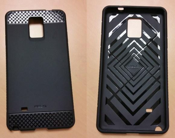 Vue avant et vue arrière de la coque Onlik Flex pro noire pour Note 4