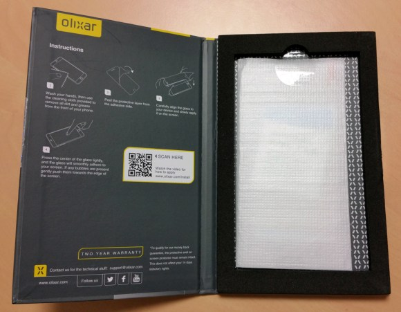 Contenu de la protection d'écran pour Samsung Galaxy Note 4 Olixar en verre trempé