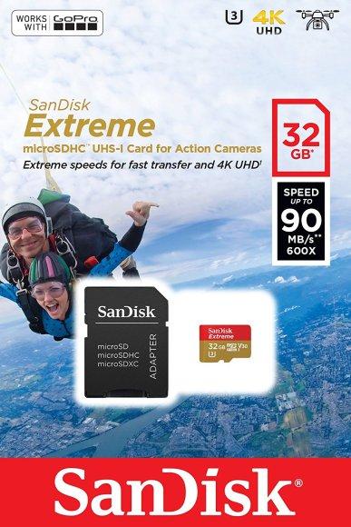 Emballage de la carte micro SDHC Sandisk Extreme avec adaptateur de 32 Go.