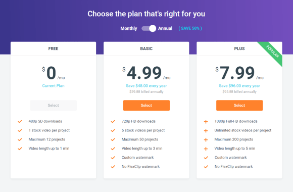Comparatif des offres de FlexClip Video Maker