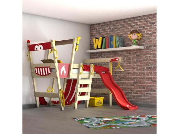 Wickey lit en bois pour enfant crazy smoky lit mezzanine avec toboggan