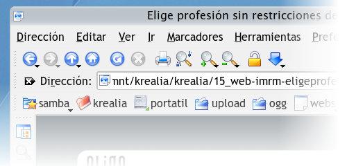 Probando la página web con Konqueror