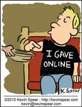cartoon of a guy in church. An offering plate is being handed to him. The guy has a t-shirt that says,