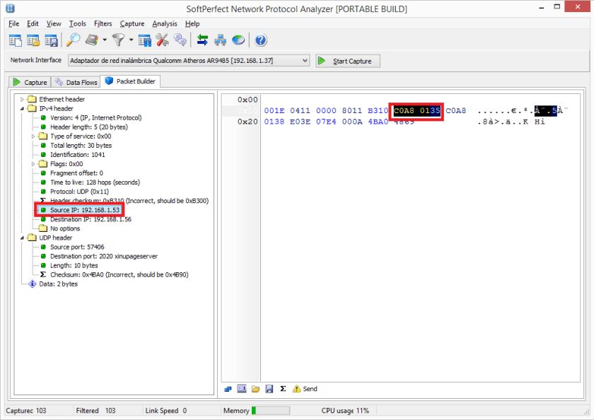 Modificar la IP de origen que envía el texto al servidor