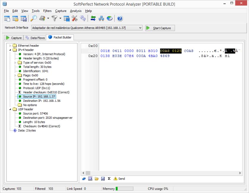 Modificar la información en Packet Builder