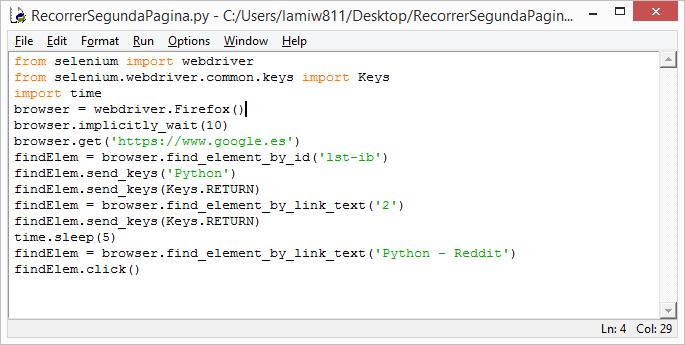 Pulsar sobre un enlace de la segunda página de los resultados de una búsqueda desde Python