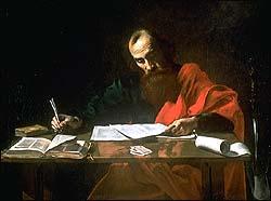 Valentin de Boulogne or Nicolas Tournier, St Paul Writing His Epistles (1620)