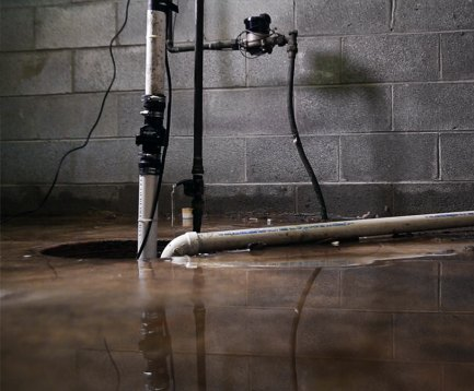 Faulty sump pump in basement