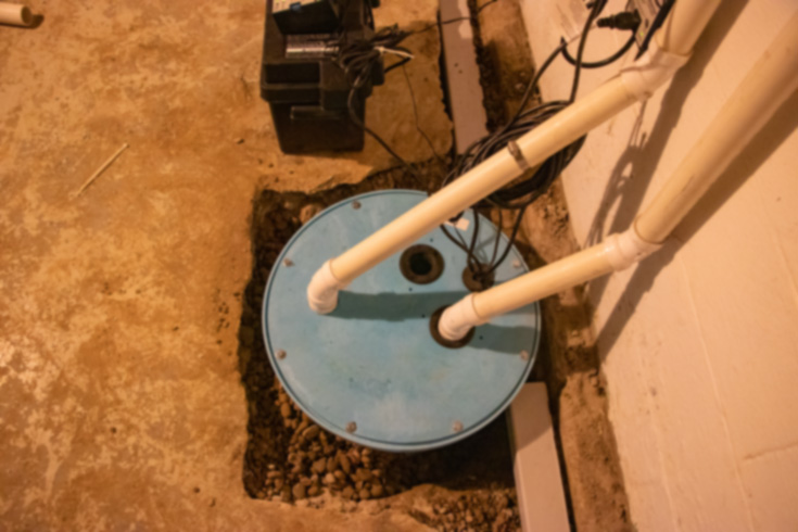 Sump pump installed in basement
