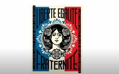 J-J de la vente exclusive de la nouvelle sérigraphie «The Liberté» de Shepard Fairey (Galerie Itinerrance)