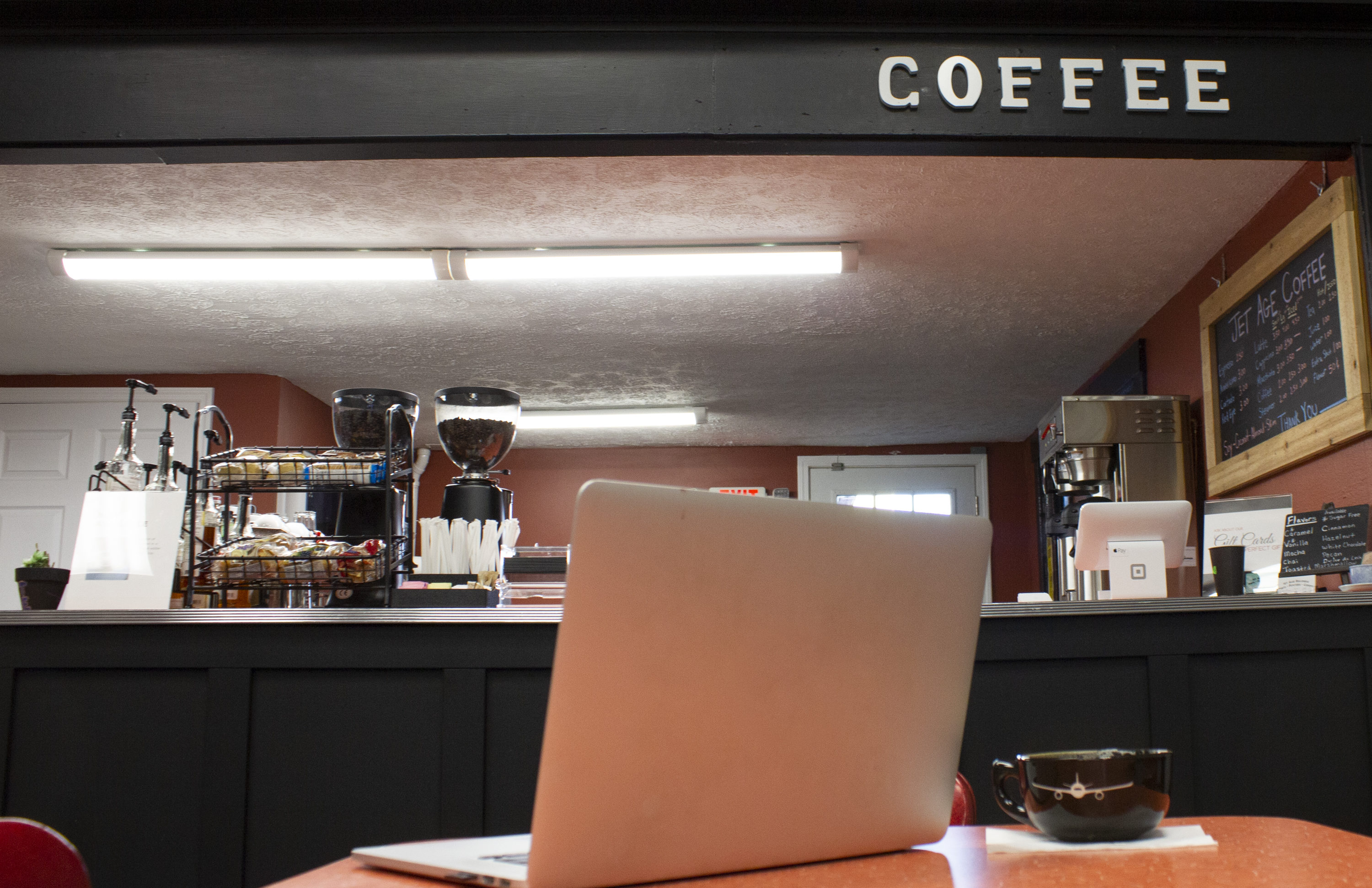 Grab a coffee, listen to some music, and relax while you get some work done in our cafe.