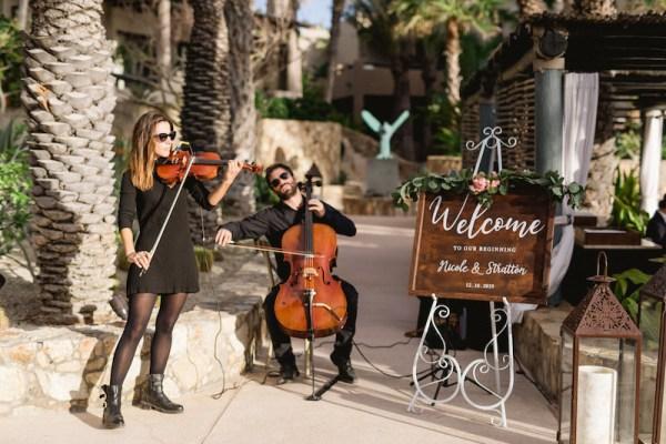musiciens à cordes mariage plage