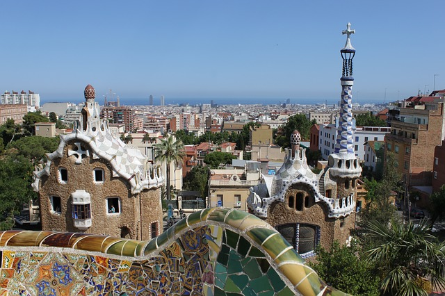 View from the top of Park Güell in Barcelona, Spain