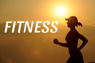The words fitness with a woman running in the background