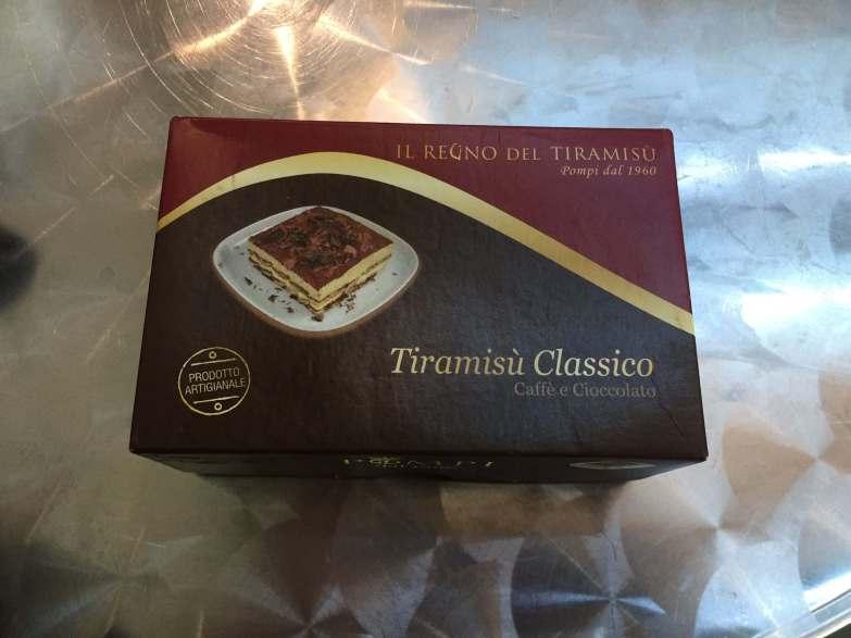 A box from Pompi Tiramisu in Rome Italy