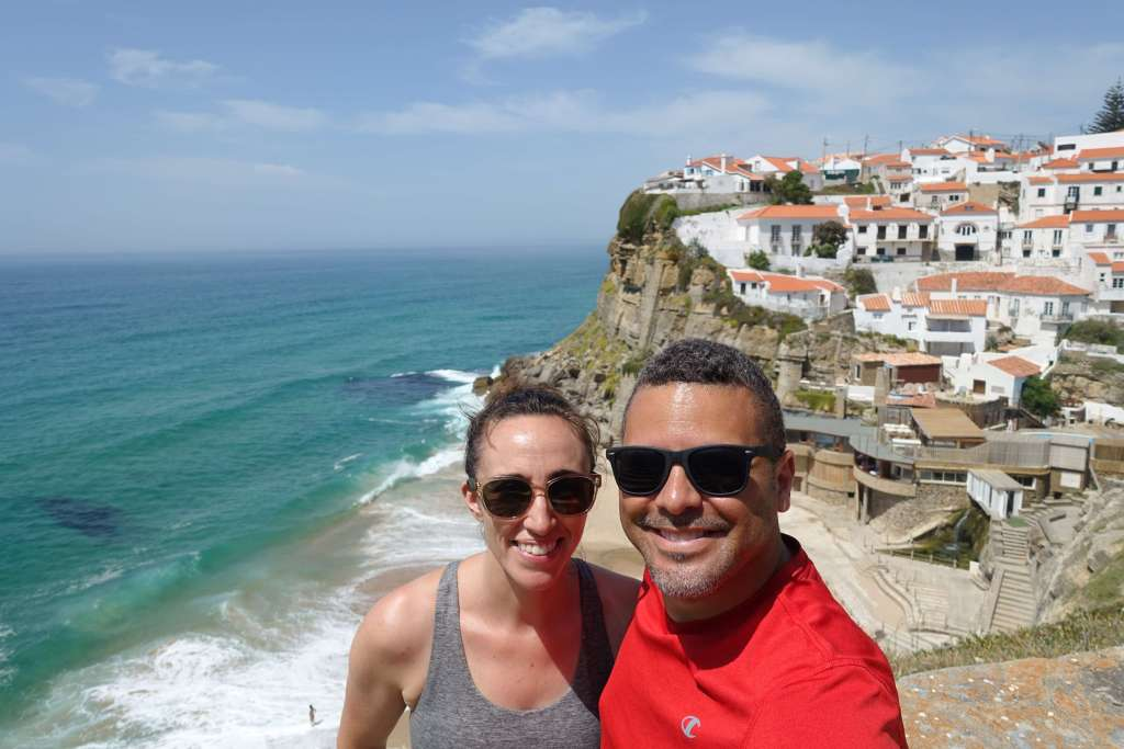 Zeke and Gina overlooking the beach in Sintra
