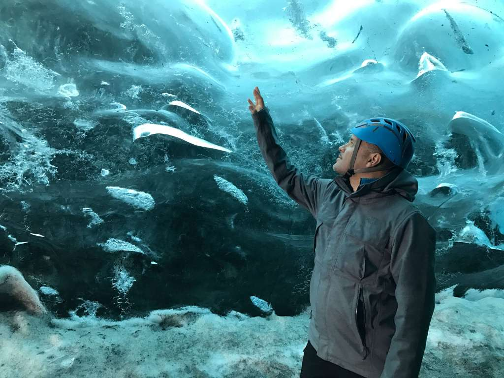 Blue and White Ice in a Cave