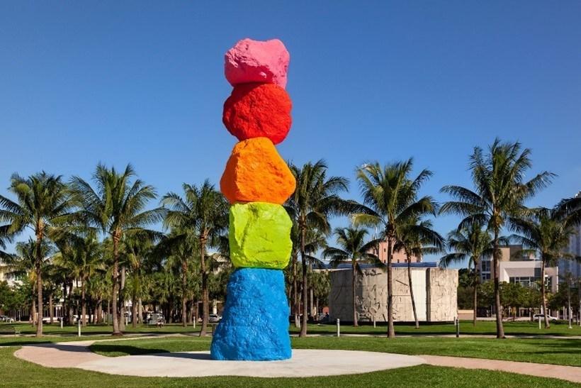 Ugo Rondinone's 'Miami Mountain' at Collins Park.