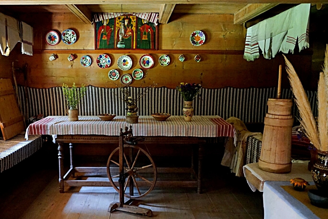 Museum of Folk Architectures, inside a wooden house