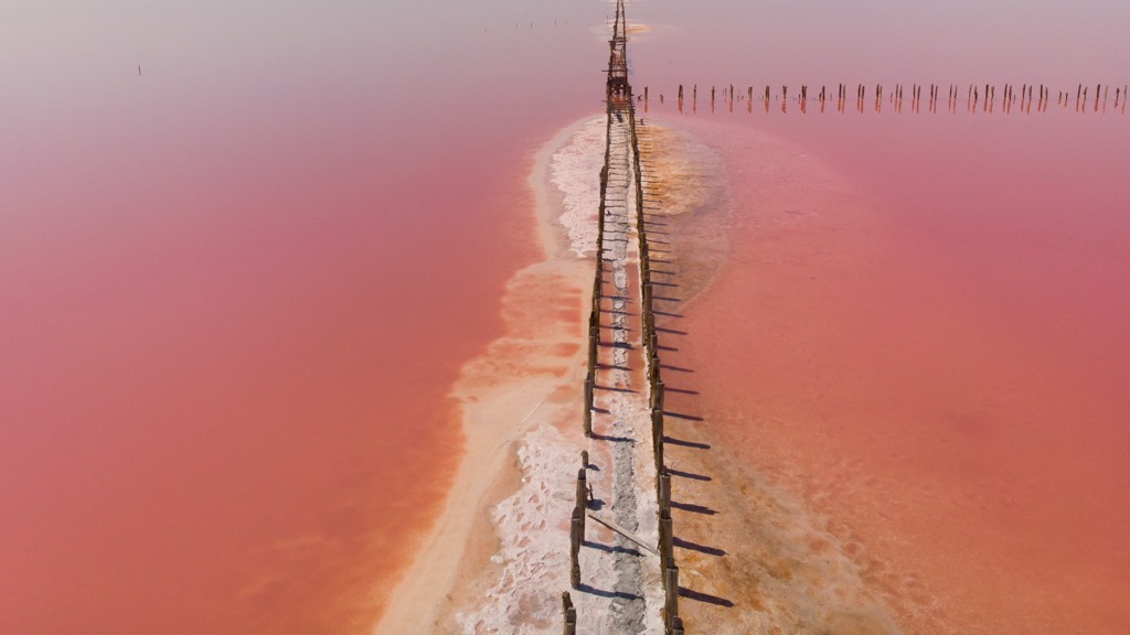 drone shot of the Pink lake in Ukraine