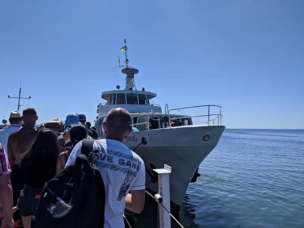 Boat to Dzharylhach island from Skadovsk