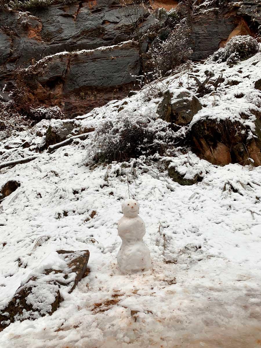Snowman at Zion National Park