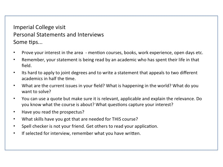 personal statement imperial college