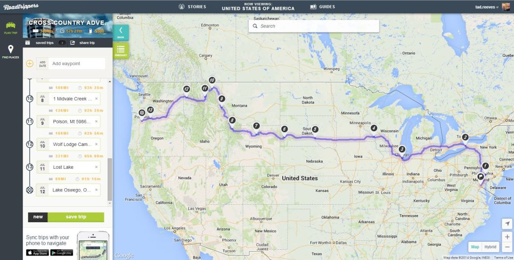 Cross-Country Road Trip Map