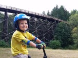 My 3-year-old son, already a die-hard trail rider.