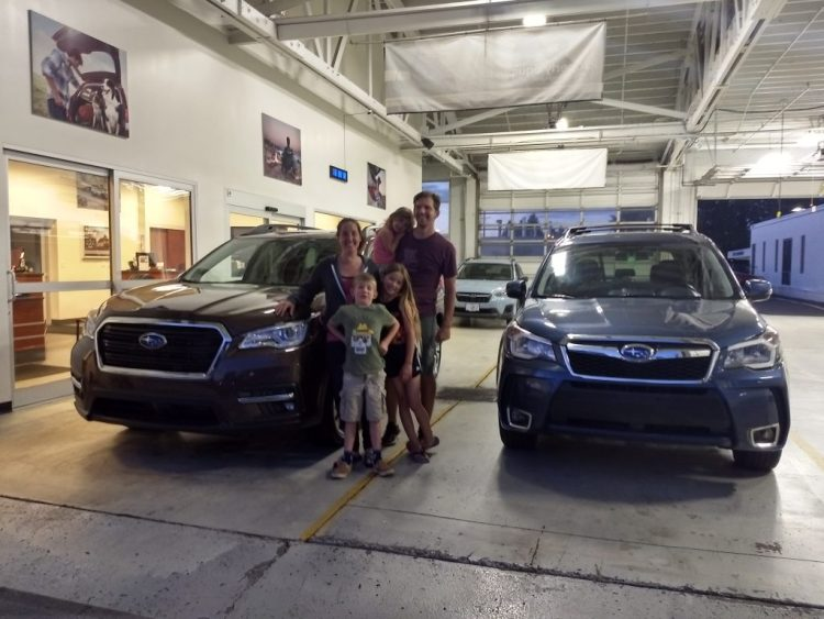 Our new 2019 Subaru Ascent Touring alongside our beloved 2014 Forester XT