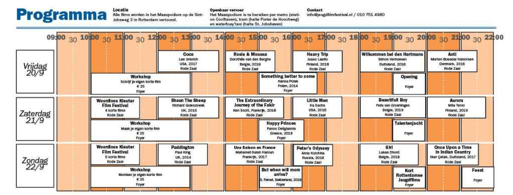 Blokkenschema Internationale Jeugd Film Festival