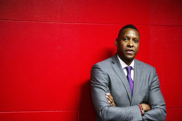 Toronto Raptors President Masai Ujiri stands in the tunnel before the team's NBA basketball game against the New Orleans Pelicans in Toronto on Tuesday, Oct. 22, 2019. California prosecutors announced Tuesday that they won't charge Ujiri for shoving a sheriff's deputy after the NBA championship-winning game in Oakland last June. (Chris Young/The Canadian Press via AP)/CHY123/19296074013535/MANDATORY CREDIT/1910230404.....