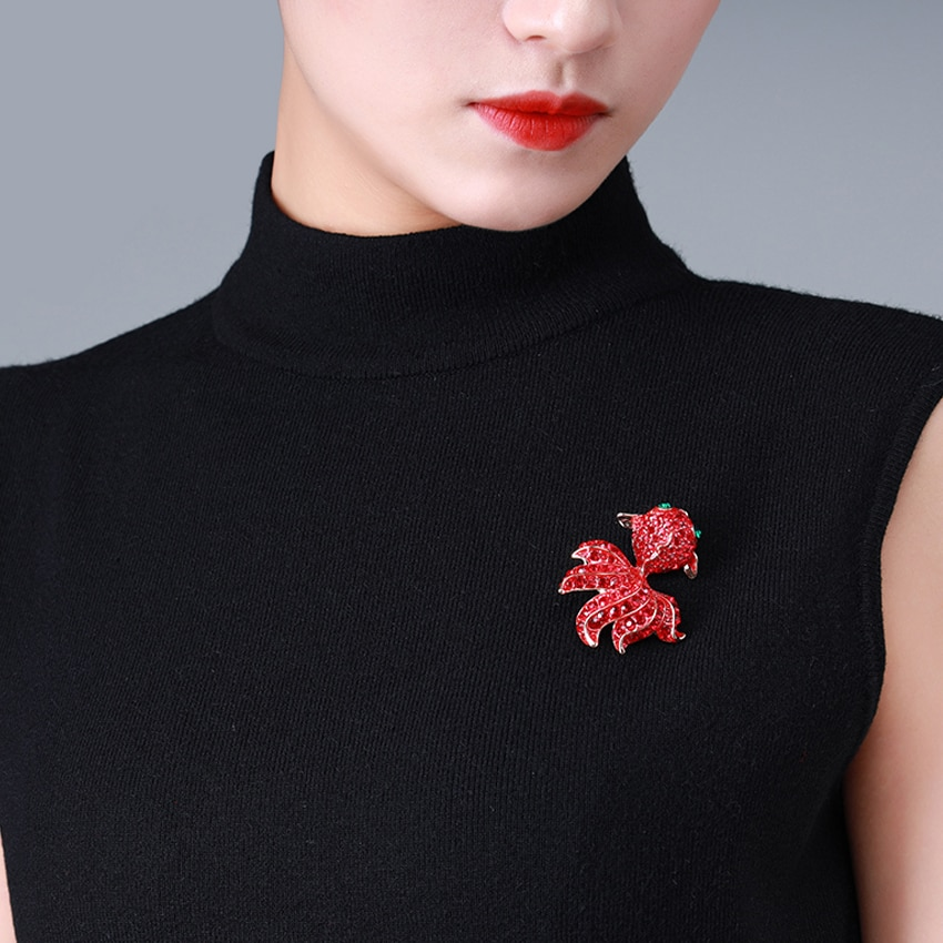 HUDIESHUO Red Brooch for Women Lovely and Cute Goldfish Crystal Brooches Fit to Sweater and Coat