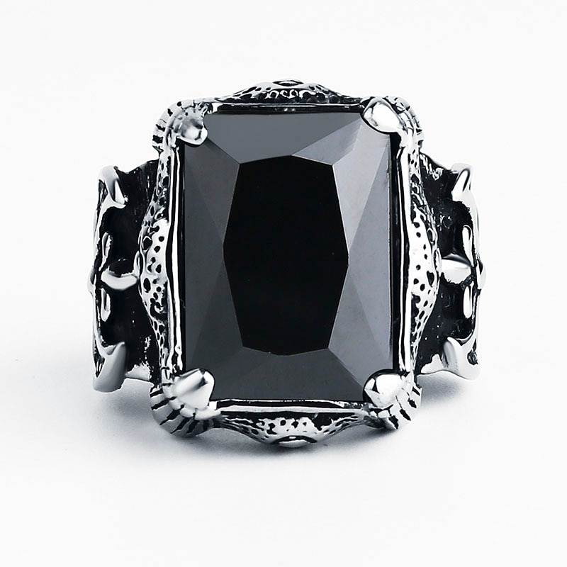 Gothic Silver Black CZ Ring