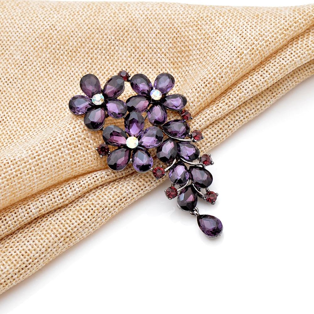 Purple Crystal Flower Brooch