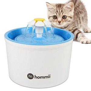 Hommii Fontaine à Fleur pour Chat Automatic Electric Flower 1.6 L Pet Water Fountain Drinking Bowl Blue