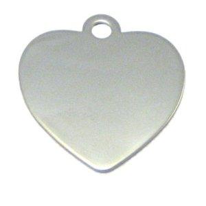 Médaille Coeur en acier inox pour chien ou chat + gravure personnalisée
