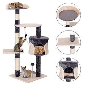TQ Costway Cat Arbre à Chat avec griffoir, Centre de Jeu et Chat Gris