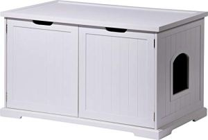 dobar 35263 Mohrle XL Armoire à Chat Design avec tiroir Blanc 95 x 54 x 58 cm