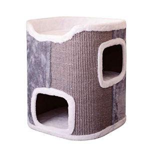 Lindou Cat Toys Jouet interactif pour Chat 2 étages avec griffoirs recouverts de sisal Gris