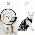 Costume de récupération de chat avec anti-léchage pour plaies abdominales Doux vêtements pour animaux de compagnie intérieur collier E Alternative pour animal de compagnie après la chirurgie (L, Vert)