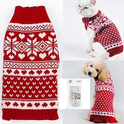 Bolbove Pull à col roulé avec flocon de neige rouge pour petits chiens et chats (XS )