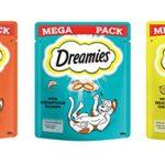 Dreamies Cat Treats Lot de 6 paquets de friandises au poulet, au fromage et au saumon 180 g