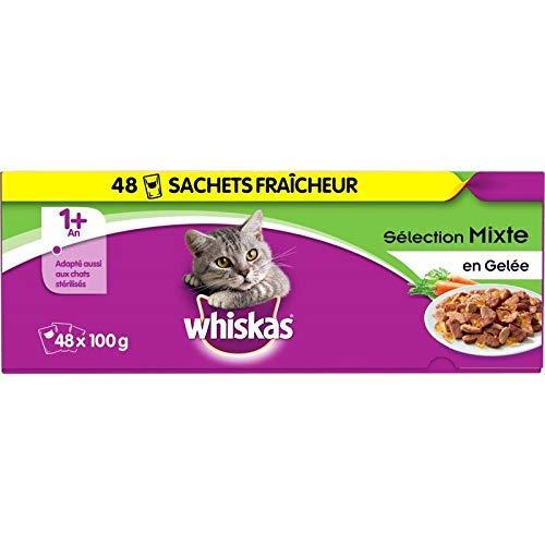 animaux WHISKAS – Sachets Fraîcheur en Gelée Les Recettes du Marché 4800G – Lot De 2 – Offre Special