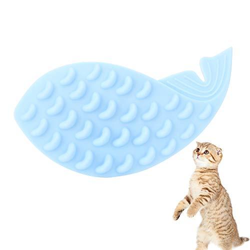 NCONCO Brosse de massage en silicone en forme de baleine avec herbe à chat Bleu