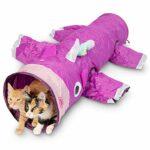 Pet Craft Supply Magie Mewnicorn Multi Tunnel pour soulager l'ennui Jouet avec cordon de plume froissé pour chats, lapins, chatons et chiens pour cacher la chasse et le repos