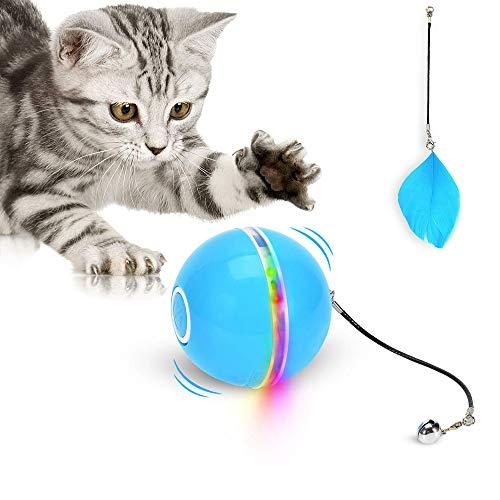 QAZX Rechargeable Interactif Balle Jouet Chat Balle Automatique avec Lumière LED Batterie Rechargeable Intégrée pour Chats Exercice Chase